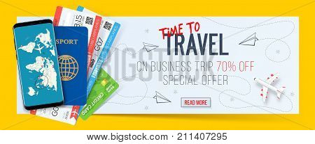 Special offer on business Travel. Business trip banner. Passport with tickets smartphone and credit card. Air travel concept. Business travel illustration. 70% off.