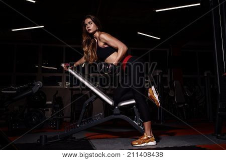 Bikini Fitness Girl Working Out With Dumbbells. Athlete Woman In Sportswear Doing Exercise In Gym.