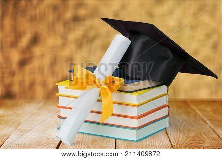 Hat books graduation grad white background celebration