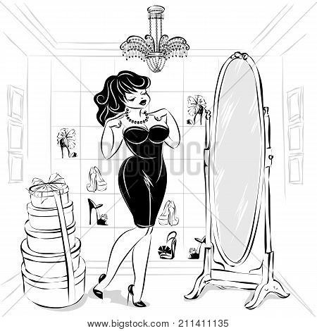 Black And White Pin-up Sexy Woman In Fashion Shop Try The Dress And Shoes In Front Of The Mirror, Dr