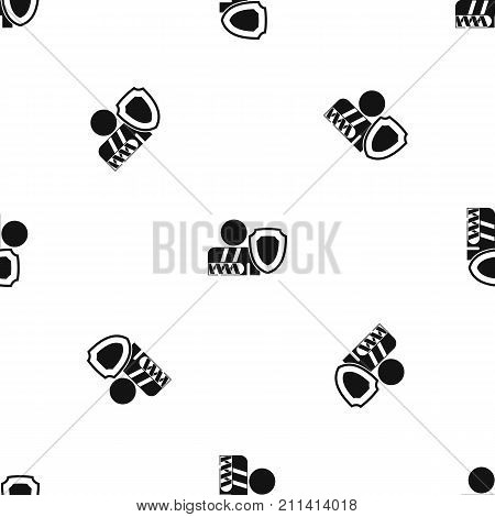 Broken arm and safety shield pattern repeat seamless in black color for any design. Vector geometric illustration