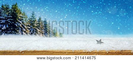 Winter snow background with silver star . Christmas landscape with snow and fir tree forest.