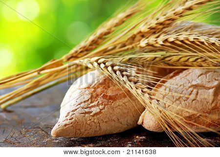 Portuguese Bread And  Spikes Of Wheat.