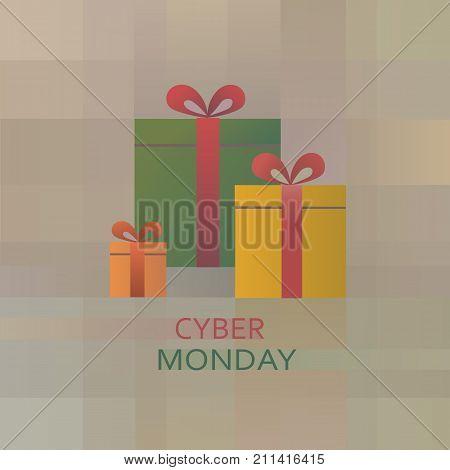 Cyber monday present box background. Sales banner eps10 vector illustration