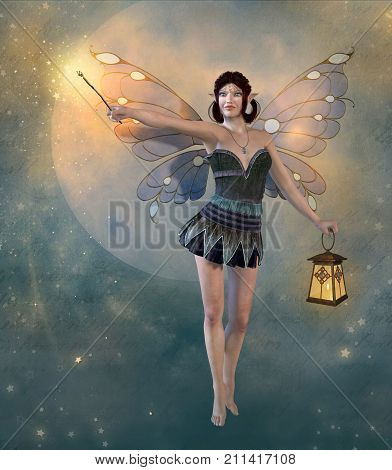 3D rendering of a charming enchanting fairy with wings holding a magic wand and lantern