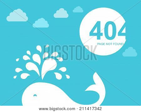 404 Error Page. Illustration for Website Error Page. Blue whale in the sea and clouds. Template reports that the page is not found.