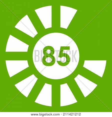 Sign 85 load icon white isolated on green background. Vector illustration