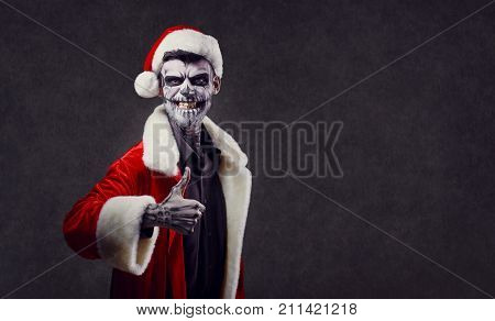 Hell Santa Claus on Christmas. Santa Claus Halloween.
