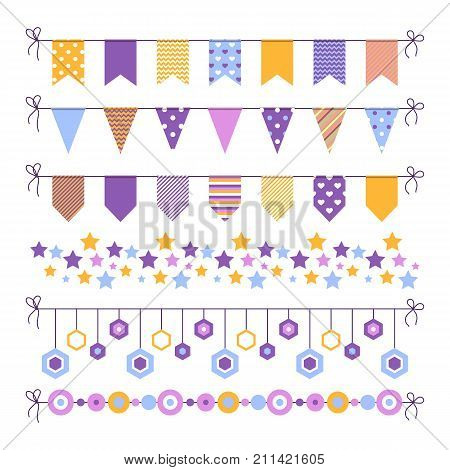 Set of bounting flags, stars and circles decorative elements on white background. Collection for birthday greeting cards and scrapbooking. Vector illustration.