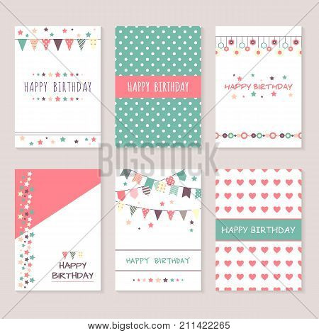 Set of birthday greeting cards design. Bounting flags, stars and circles and other decorative elements. Celebration background collection. Cute patterns and ornaments.