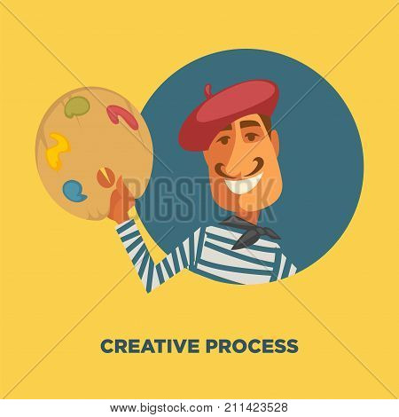 Artist and watercolor or oil paint color palette. Vector poster for creative art school workshop or artist creative painting and drawing process