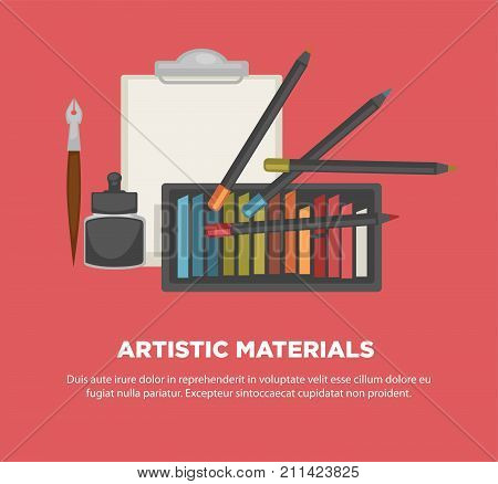 Artist painting tools and artistic materials poster. Vector watercolor or oil and pastel paint colors, palette and gouache pen, canvas picture paper sheet for creative art school or workshop