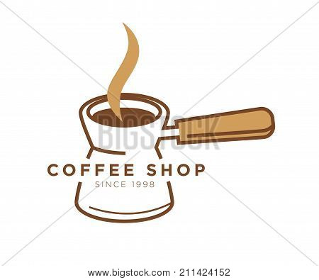 Coffee shop or cafe logo template of coffee maker. Turkish cezve coffee pot and hot steam vector isolated icon for cafeteria, coffeeshop or coffeehouse sign design