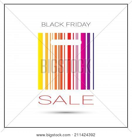 Black Friday Sale Poster With Colorful Bar Code On White Background Holiday Shopping Poster Design Vector Illustration