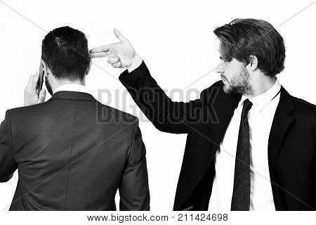 Criminal Business, Harassment, Man With Gun Gesture Shooting Busy Businessman