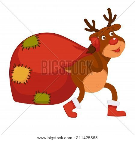 Polar deer with red nose, branchy horns in stantas boots carries huge bag with patches full of Christmas presents isolated cartoon vector illustration on white background. Fairy animal with gifts.