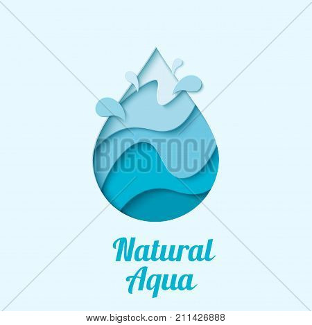Natural aqua - water drop logo design template. Vector abstract waterdrop with splash paper cut style logotype. Save water - ecology concept