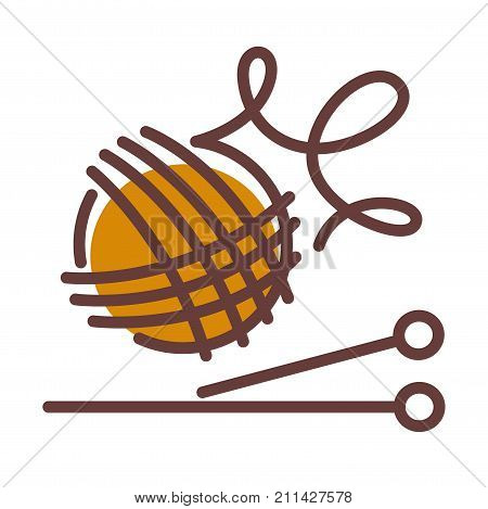 Ball of woolen threads and long needles for knitting isolated cartoon flat vector illustration on white background. Natural material and simple tools for warm knitted winter clothes creation.