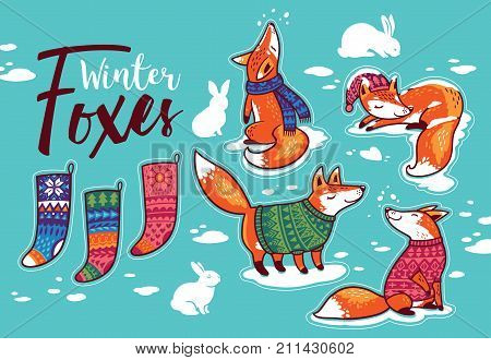 Christmas sticker set. Winter cartoon foxes in colorful cozy sweaters, rabbits and Christmas socks.
