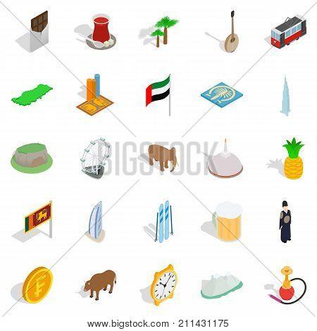 Exotic vacation spot icons set. Isometric set of 25 exotic vacation spot vector icons for web isolated on white background