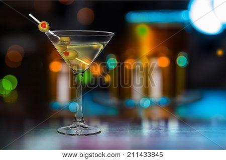 Glass martini olives bar color pub red