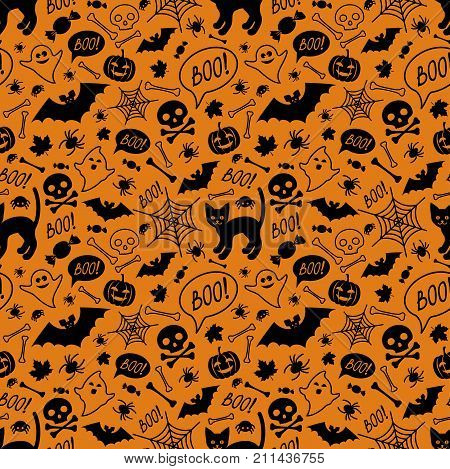 Halloween festive seamless pattern. Orange endless background with cat pumpkins skulls bats spiders ghosts bones candies spider web and speech bubble with boo