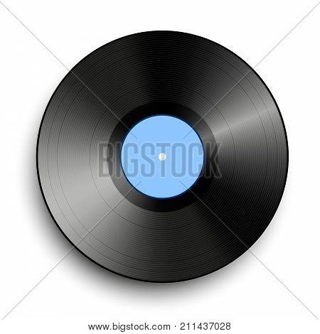 Black vinyl record isolated on white background. Music disk