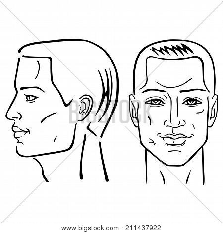 Man hairstyle head set (front side views) vector illustration isolated on white background