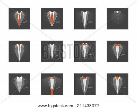 Cartoon Business Card with Suits and Tuxedo Set Official Ceremony Style Concept Flat Design Style for Invitation . Vector illustration