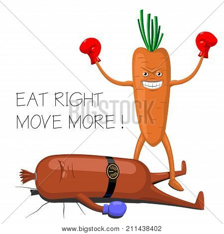 Print poster or icon sticker.Humor. A motivational poster on the subject of diet and health. Carrot boxer beats a sausage