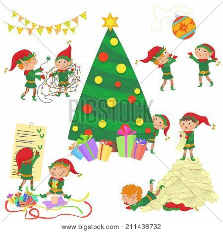 Vector illustration of small cute elves decorating Christmas tree.