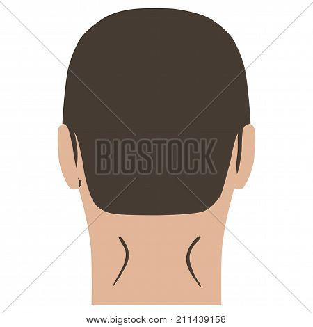 Man hairstyle head set (back view) vector illustration isolated on white background