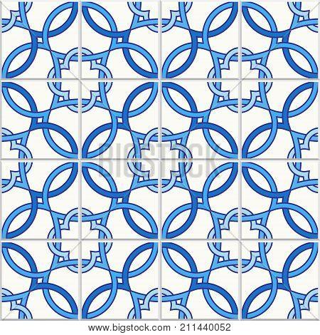 Portuguese tiles Quatrefoil vector pattern. Tangled modern pattern based on traditional oriental arabic patterns - arabesque. Seamless vector background. Moroccan Turkish Lisbon floor tiles.