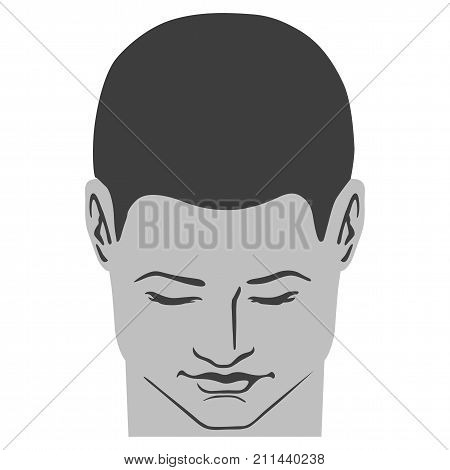 Man hairstyle head (front) vector illustration isolated on white background