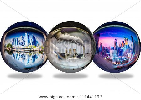 Transparent globes with city and polution reflect inside isolated on white background global warming conservative concept