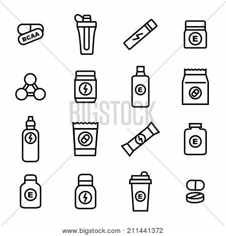 Sport Supplements Black Thin Line Icon Set for Web and App Include of Vitamin, Pill, Bottle and Shaker . Vector illustration of Supplement