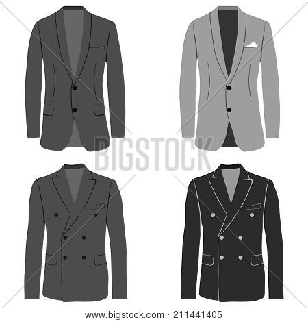Men's jacket double-breasted and single-breasted jacket costume. Flat design vector illustration vector.