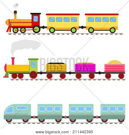 Cartoon train, children's toy train railway. Flat design, vector illustration, vector.