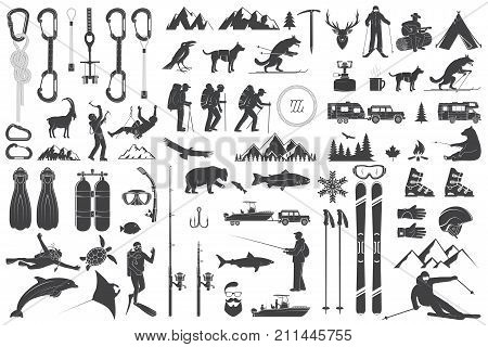 Mountaineering, hiking, climbing, fishing, skiing and other adventure icons. Vector illustration. Vintage typography design with ice axe, rock climbing Goat and mountain silhouette.