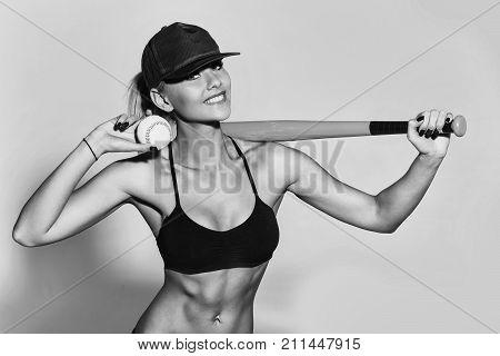 Pretty Sporty Girl Athlete Player Holding Green Baseball Bat, Ball