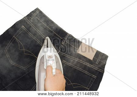 Ironing facilities, clubs a pair of jeans on a white background