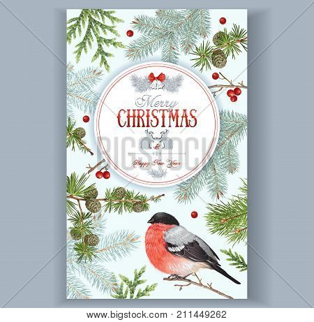 Vector vintage card with forest branches, bullfinch and Christmas banner with rabbits and bells. Highly detailed festive design for greeting cards. Can be used for poster, web page, packaging