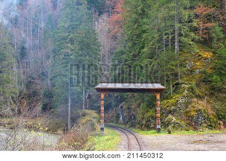 Vintage Railroad. Forest. Green Mountain Forest Landscape. Misty Mountain Forest. Fantastic Forest L