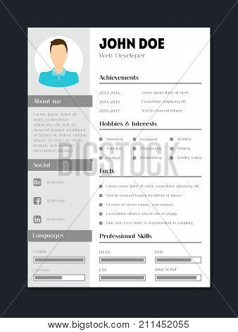 Cartoon Company Application Cv Male Resume Template Card Poster Flat Style Design Skill, Experience and Vitae. Vector illustration