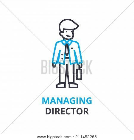 Managing director concept , outline icon, linear sign, thin line pictogram, logo, flat illustration, vector