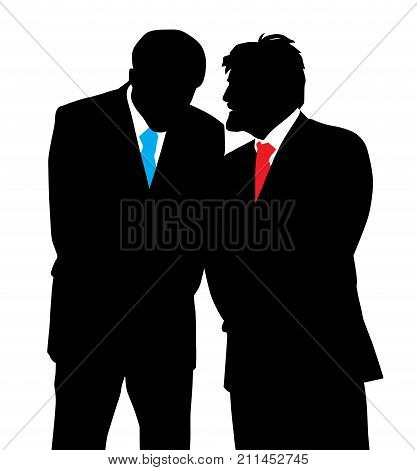 Two businessmen discreet conversation. Telling a secret.