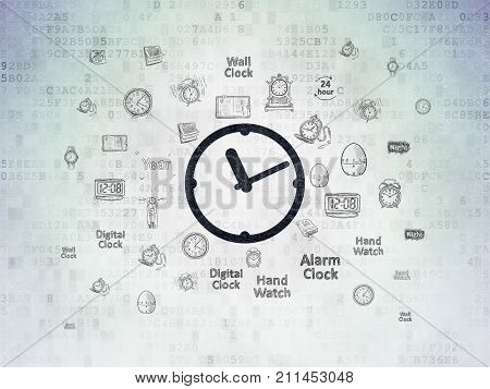 Timeline concept: Painted black Clock icon on Digital Data Paper background with  Hand Drawing Time Icons