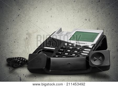 Modern phone cordless white background object number