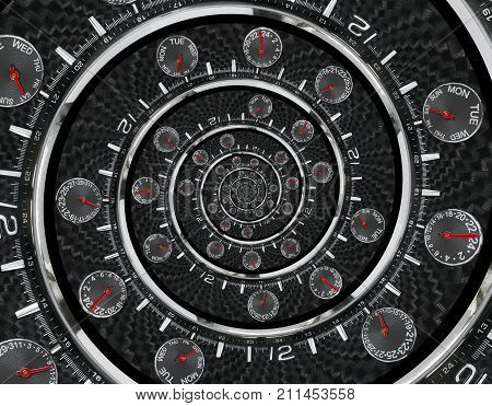 Modern silver black fashion clock watch red clock hands twisted to surreal time spiral. Surrealism clock black clock watch abstract fractal background Stylish clock texture pattern Concept time spiral. Twirl spiral clock surreal background pattern