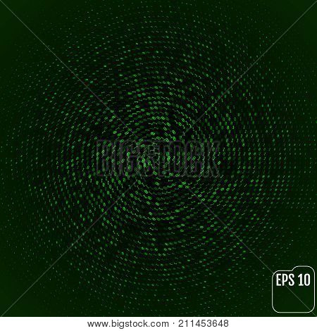 Green Color Code Streams Glowing On Screen. Vector Background